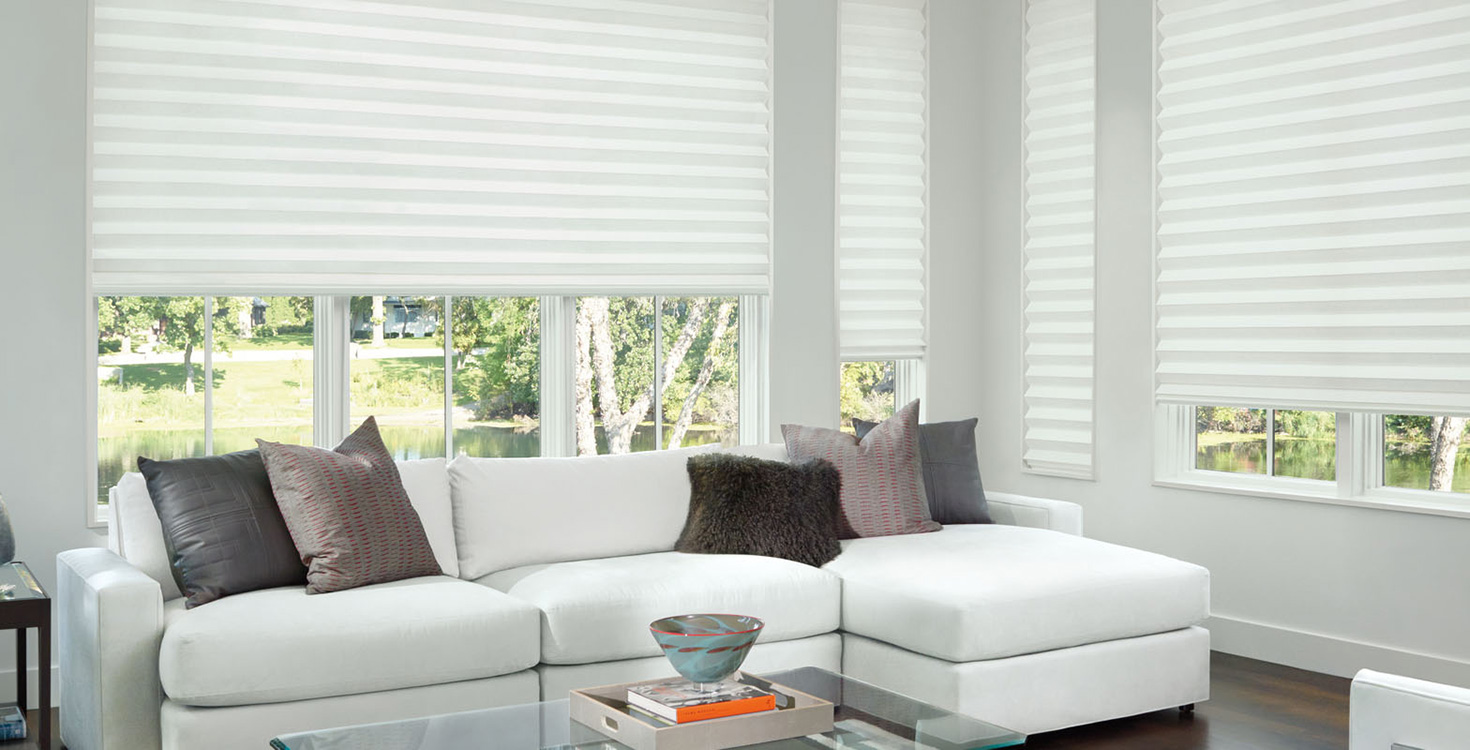 Hunter Douglas window treatments, like Solera, are available in a variety of types and fabrics.