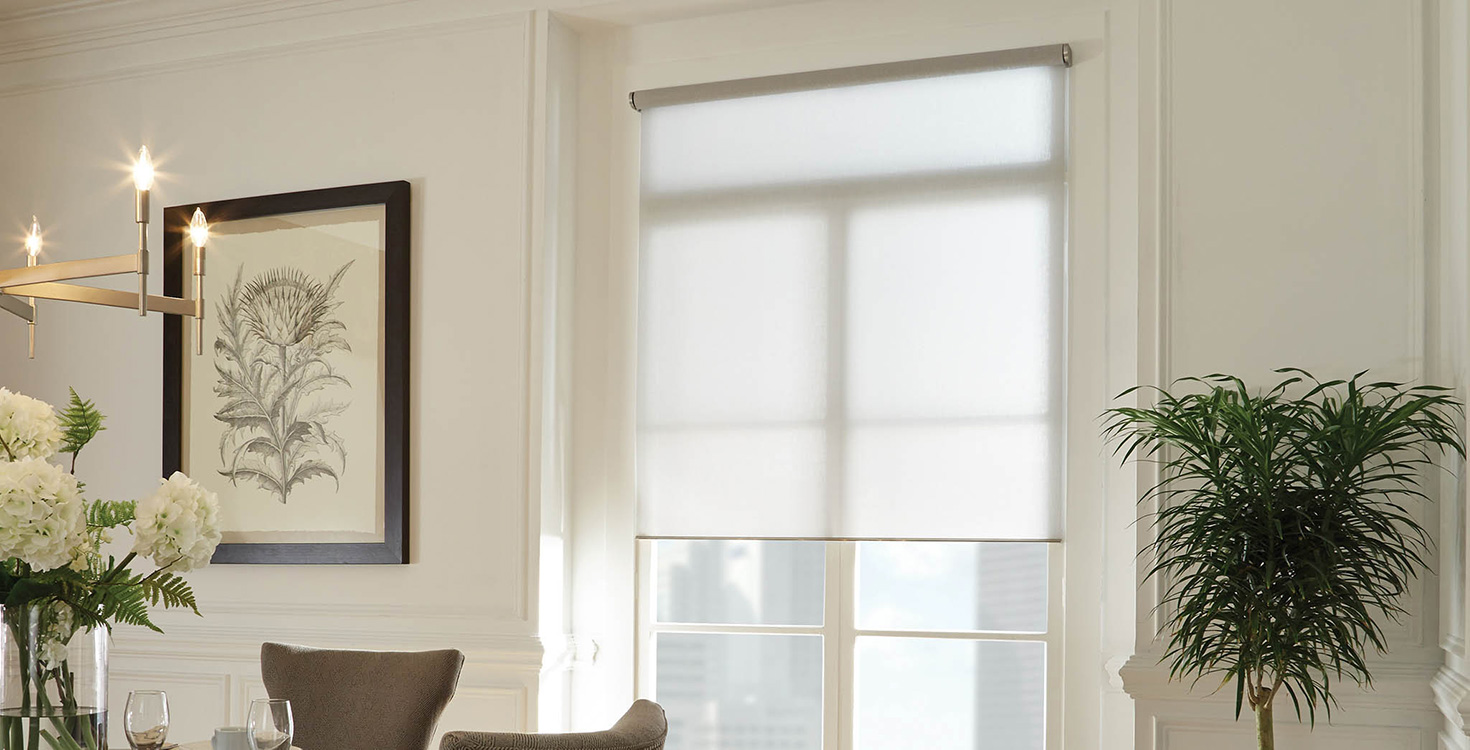 Lutron motorized shades are custom-cut to fit each window and are available in numerous styles and fabrics.